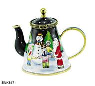 ENK847 Kelvin Chen Santa, Snowman, & Children Enamel Hinged Teapot