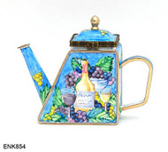 ENK854 Kelvin Chen Wine & Grapes  Enamel Hinged Teapot
