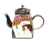 ENK861 Kelvin Chen Woman and Baby Enamel Hinged Teapot
