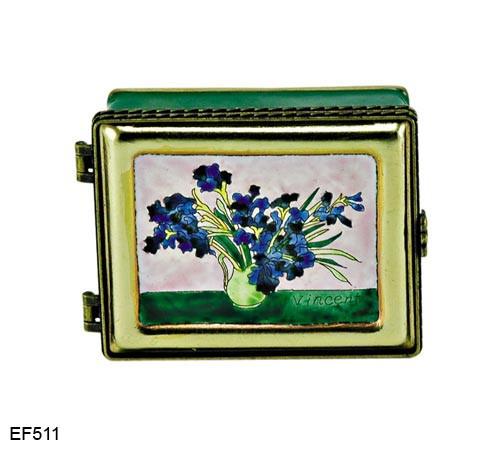 EF511 Kelvin Chen Vincent Van Gogh Vase with Irises Master Painting Enamel Hinged Box