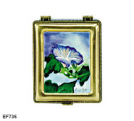 EF736 Kelvin Chen John La Farge Blue Flower Master Painting Enamel Hinged Box