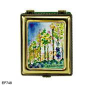 EF748 Kelvin Chen Monet Poplars 2 Master Painting Enamel Hinged Box