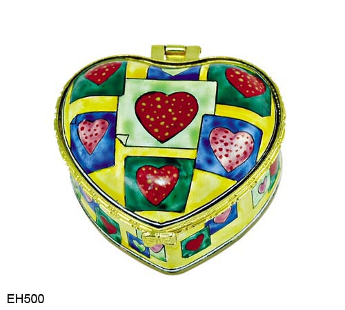 EH500 Kelvin Chen Hearts Pattern Enamel Hinged Box