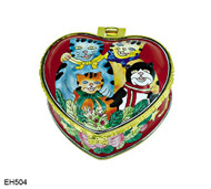 EH504 Kelvin Chen Four Happy Cats Enamel Hinged Box