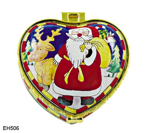 EH506 Kelvin Chen Santa & Reindeer Enamel Hinged Box