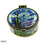 EH510 Kelvin Chen Vincent Van Gogh Starry Night Miniature Enamel Hinged Box