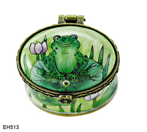 EH513 Kelvin Chen Frog on Lily Pad Miniature Enamel Hinged Box
