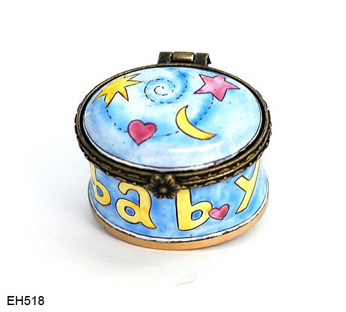 EH518 Kelvin Chen Baby Star, Moon, Heart Miniature Enamel Hinged Box