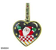 EN503H Kelvin Chen Santa Heart Enamel Ornament