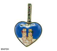 EN372H Kelvin Chen Two Cats Heart Enamel Ornament