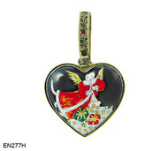 EN377H Kelvin Chen Angel Cat Blowing Horn Heart Enamel Ornament