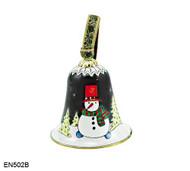 EN502B Kelvin Chen Snowman Bell Enamel Ornament