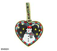 EN502H Kelvin Chen Snowman Heart  Enamel Ornament