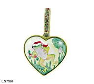 EN796H Kelvin Chen Frog in Hat Heart Enamel Ornament