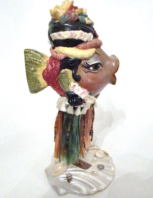 Katherine's Collection Table Top Hula Girl Kissing Fish Pink Body