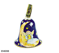 EN805B Kelvin Chen Angel on Moon Bell Enamel Ornament