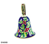 EN806B Kelvin Chen Christmas Holly Bell Enamel Ornament