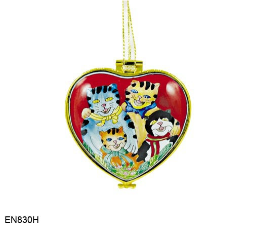EN830H Kelvin Chen Cat Family Hinged Heart Enamel Ornament