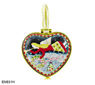 EN831H Kelvin Chen Flying Angel Hinged Heart Enamel Ornament