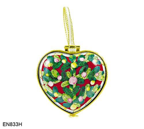 EN833H Kelvin Chen Christmas Holly Hinged Heart Enamel Ornament