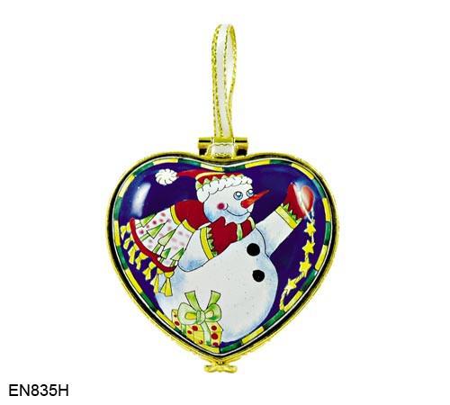 EN835H Kelvin Chen Snowman Hinged Heart Enamel Ornament