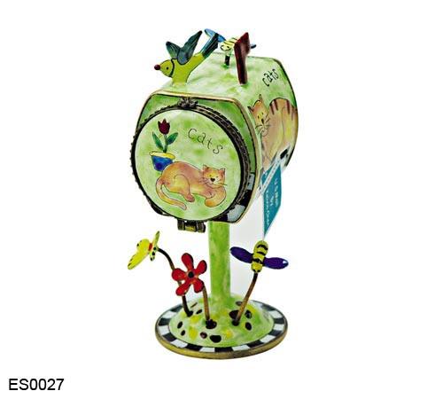 ES0027 Kelvin Chen Cats Mailbox Hinged Stamp Box