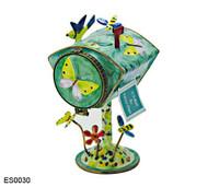 ES0030 Kelvin Chen Butterflies & Blue Flower Mailbox Hinged Stamp Box
