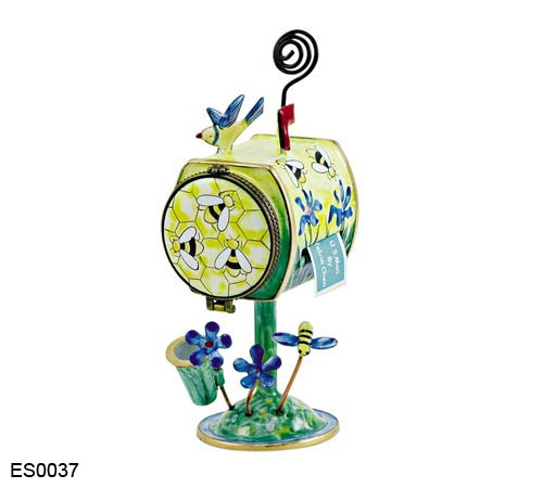ES0037 Kelvin Chen Bees Mailbox Hinged Hinged Stamp/Placecard Box