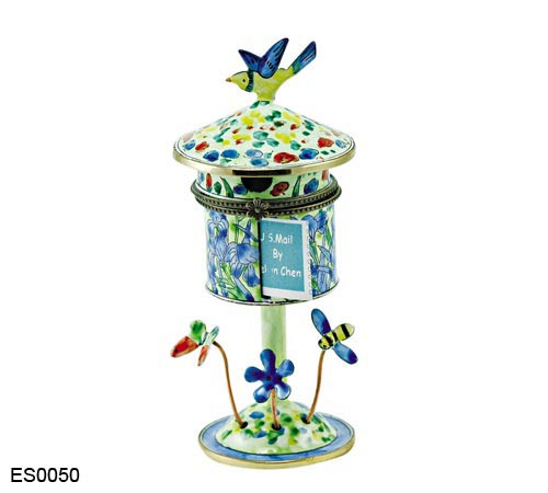 ES0050 Kelvin Chen Vincent Van Gogh Iris Field  Birdhouse Hinged Stamp Box