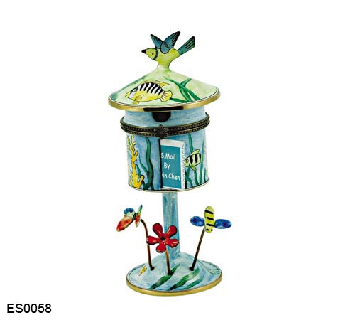 ES0058 Kelvin Chen Tropical Fish Hinged Birdhouse Stamp Box
