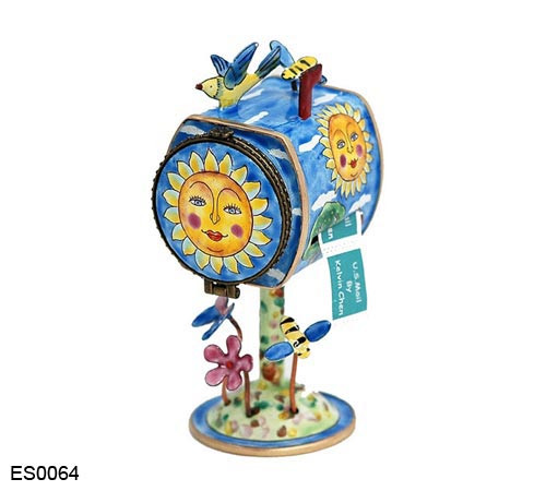 ES0064 Kelvin Chen Sun Face Birdhouse Hinged Stamp Box