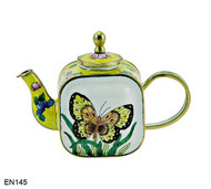 EN145 Kelvin Chen Yellow Flowers and Butterfly Enamel Teapot