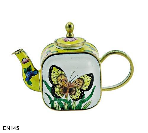 EN145 Kelvin Chen Yellow Flowers and Butterfly Enamel Teapot