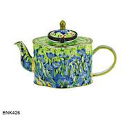 ENK426 Kelvin Chen Vincent Van Gogh Irises Enamel Hinged Teapot