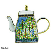 ENK748 Kelvin Chen Monet Poplars Enamel Hinged Teapot