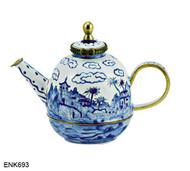 ENK693 Kelvin Chen Blue Deco Enamel Hinged Teapot