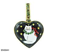 EN304H Kelvin Chen White Cat Heart Enamel Ornament