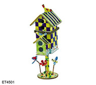 ET4501 Kelvin Chen Blue and Yellow Checker Hinged Birdhouse