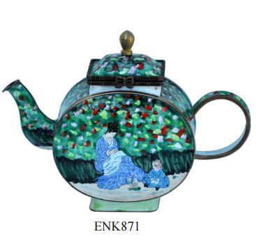 ENK871 Claude Monet Camille and a Child in the Garden Enamel Hinged Teapot