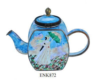 ENK872 Kelvin Chen Claude Monet Woman with a Parasol Enamel Hinged Teapot