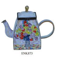 ENK873 Kelvin Chen Claude Monet Vase of Peonies Enamel Hinged Teapot