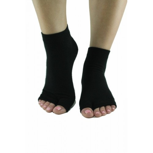 Solid Black Split-toe yoga and pilates socks.