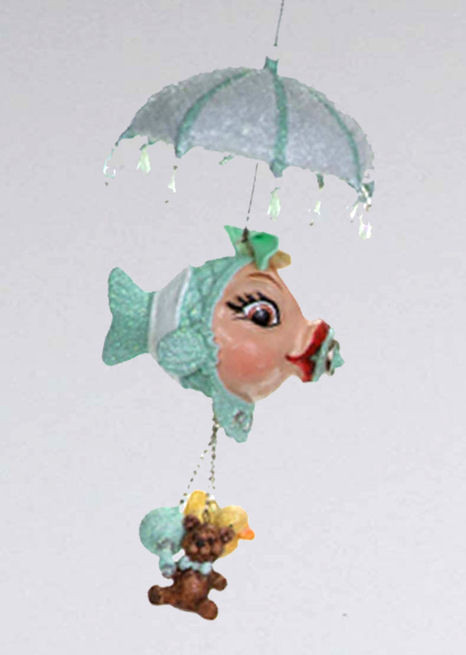 Katherine's Collection Baby Shower Dangling Kissing Fish Green