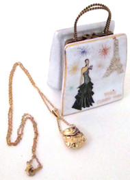S&D Designer Paris Shopping Bag Limoges Box with Necklace