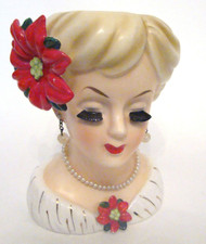 Vintage authentic Lady Head Vase Inarco E-195B