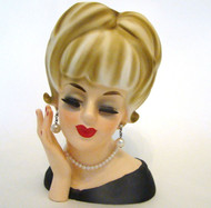 Antique Lady Head Vase Enesco 7 1/4""