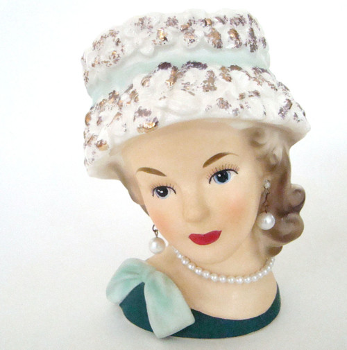 Antique Lady Head Vase Relpo K1517 in Sculpted Hat