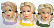 Antique Lady Head Vase SET OF 3 JAPAN Rubens 4129