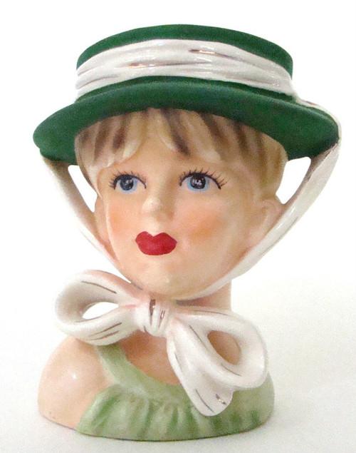 Antique Lady Head Vase Relpo K1766 in Green Bonnet Hat