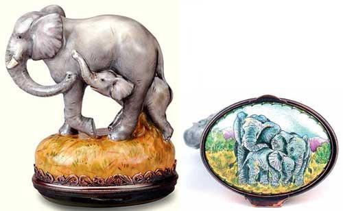 Staffordshire Elephant & Calf B/B